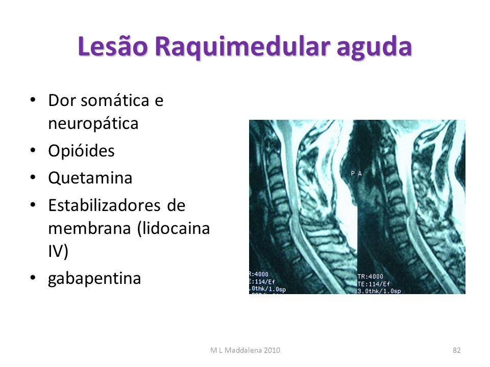 Lesão Raquimedular aguda Dor somática e neuropática Opióides Quetamina Estabilizadores de membrana (lidocaina IV) gabapentina M L Maddalena 201082