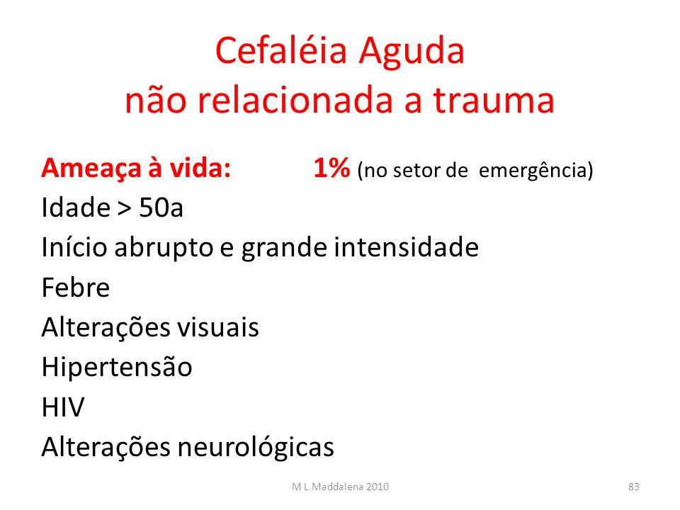 Cefaléia Aguda não relacionada a trauma Ameaça à vida:1% (no setor de emergência) Idade > 50a Início abrupto e grande intensidade Febre Alterações vis