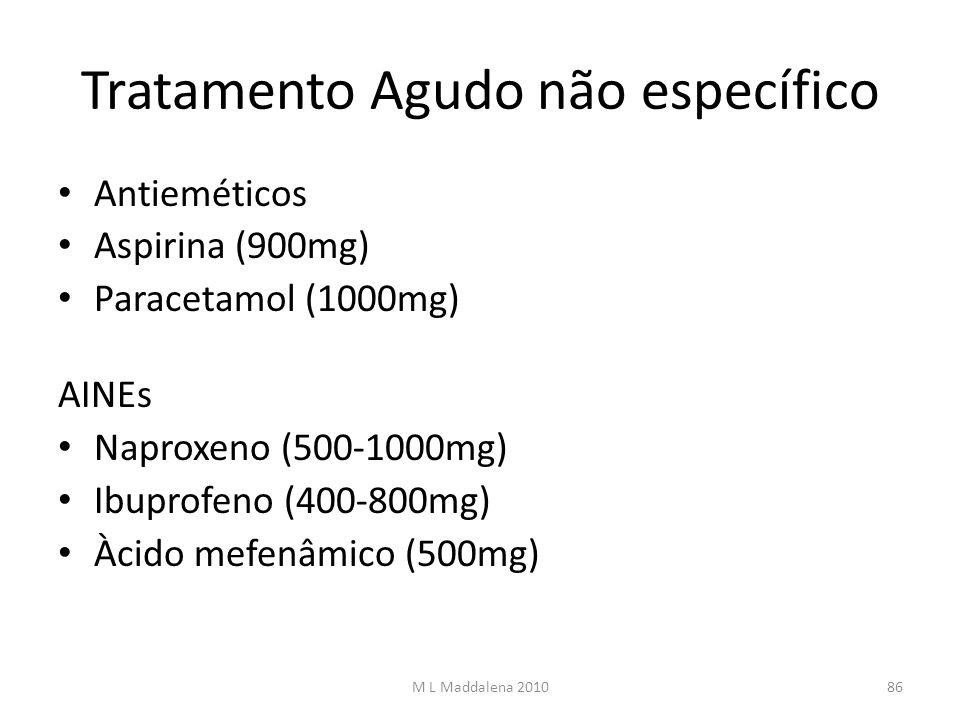 Tratamento Agudo não específico Antieméticos Aspirina (900mg) Paracetamol (1000mg) AINEs Naproxeno (500-1000mg) Ibuprofeno (400-800mg) Àcido mefenâmic