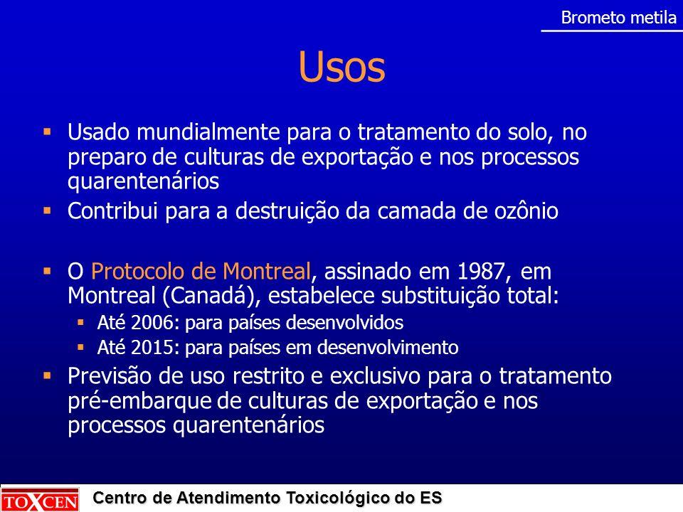 Centro de Atendimento Toxicológico do ES Brometo metila Usos Usado mundialmente para o tratamento do solo, no preparo de culturas de exportação e nos