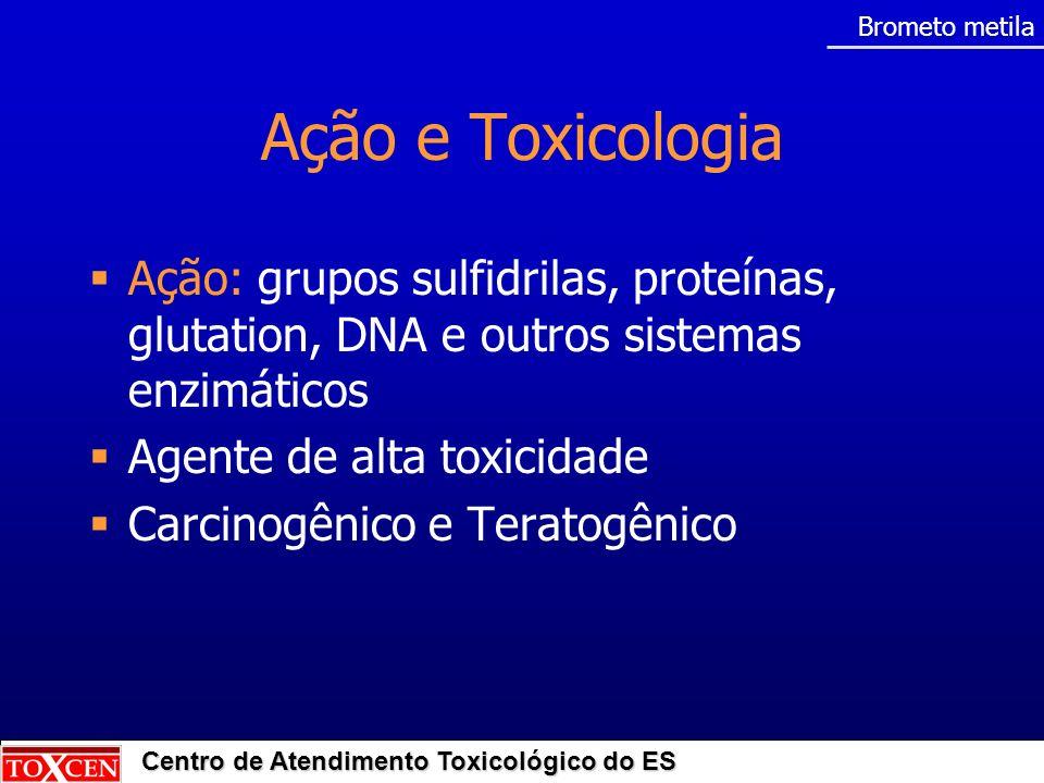 Centro de Atendimento Toxicológico do ES Toxicocinética Absorção: Pulmonar: principal Cutânea: moderada Digestiva: pequena Metabolização: fixação em lipídios e proteínas Excreção: pulmões (brometo) e rins (metilcisteína) Brometo metila