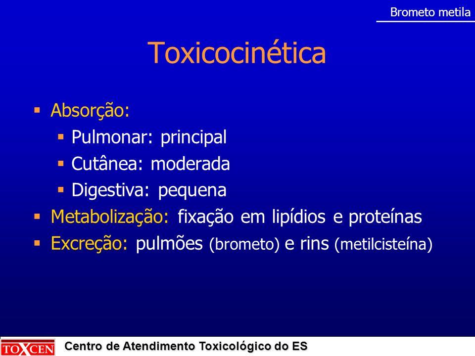 Centro de Atendimento Toxicológico do ES Toxicocinética Absorção: Pulmonar: principal Cutânea: moderada Digestiva: pequena Metabolização: fixação em l