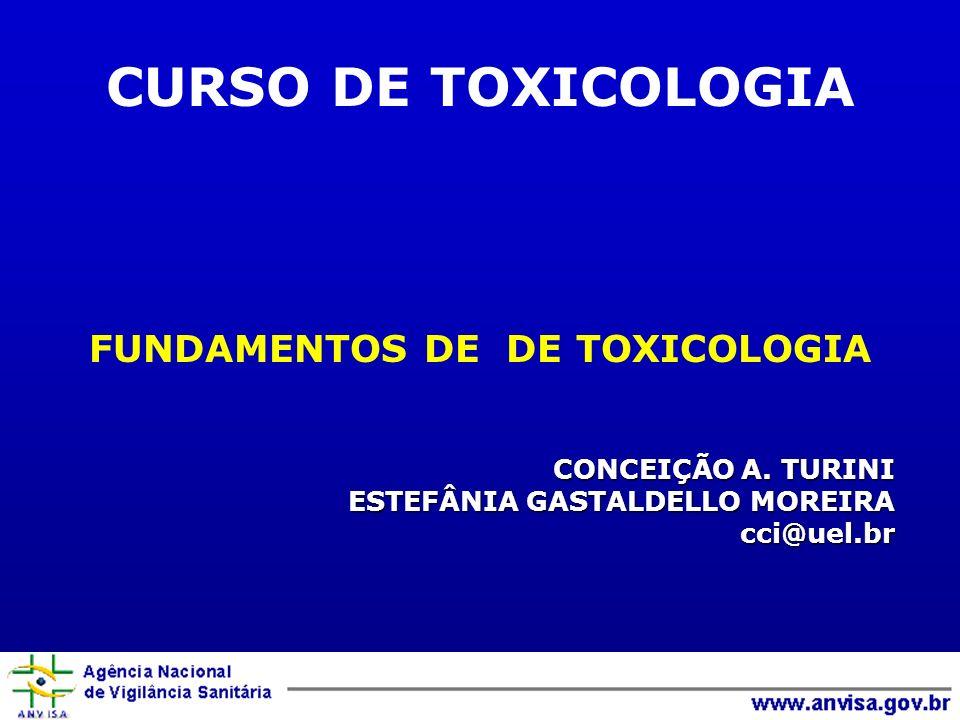 CONCEIÇÃO A. TURINI ESTEFÂNIA GASTALDELLO MOREIRA cci@uel.br FUNDAMENTOS DE DE TOXICOLOGIA CURSO DE TOXICOLOGIA