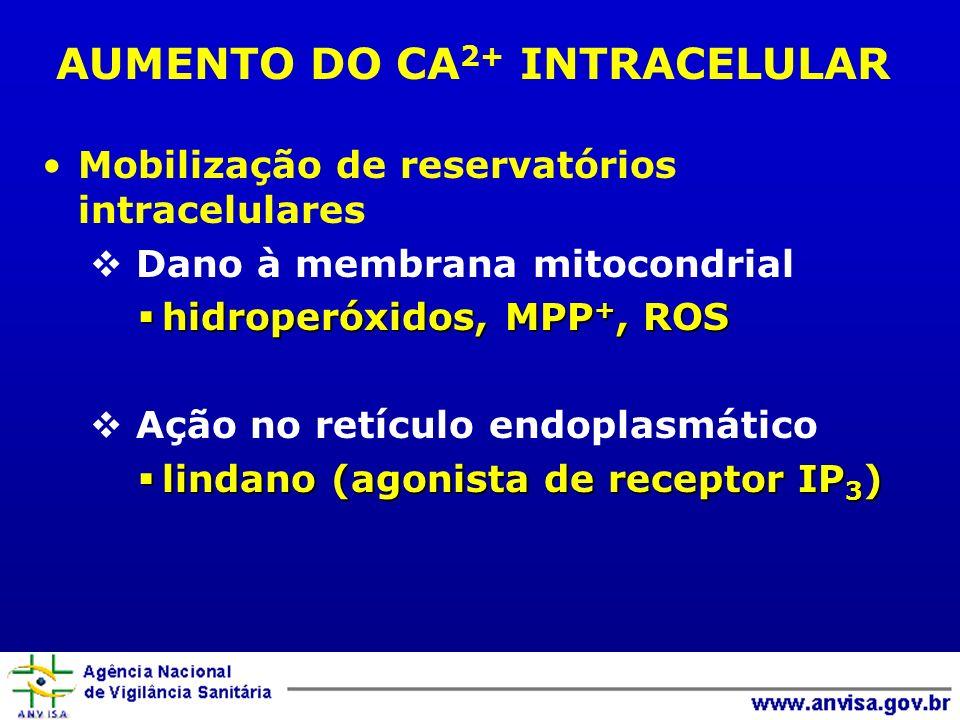 Mobilização de reservatórios intracelulares Dano à membrana mitocondrial hidroperóxidos, MPP +, ROS hidroperóxidos, MPP +, ROS Ação no retículo endopl