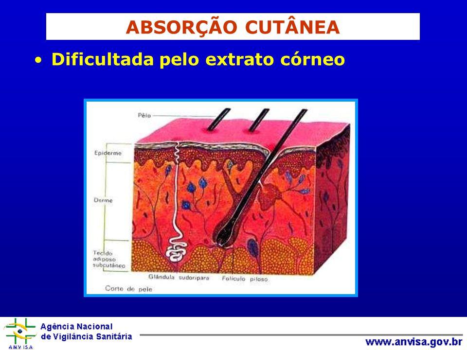ABSORÇÃO CUTÂNEA Dificultada pelo extrato córneo