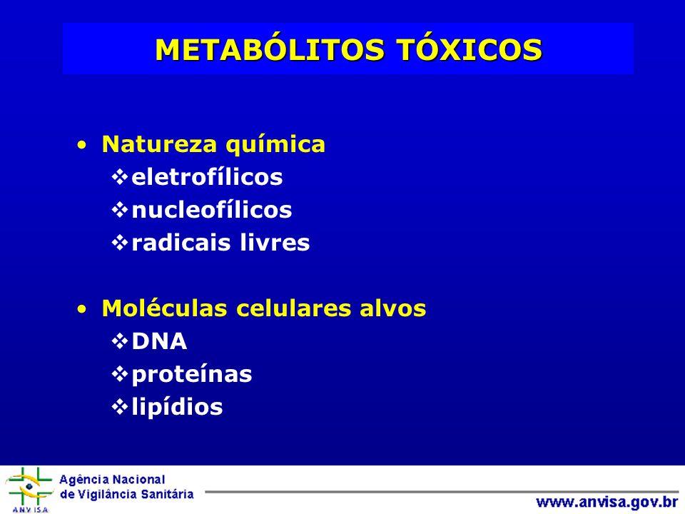 Natureza química eletrofílicos nucleofílicos radicais livres Moléculas celulares alvos DNA proteínas lipídios METABÓLITOS TÓXICOS
