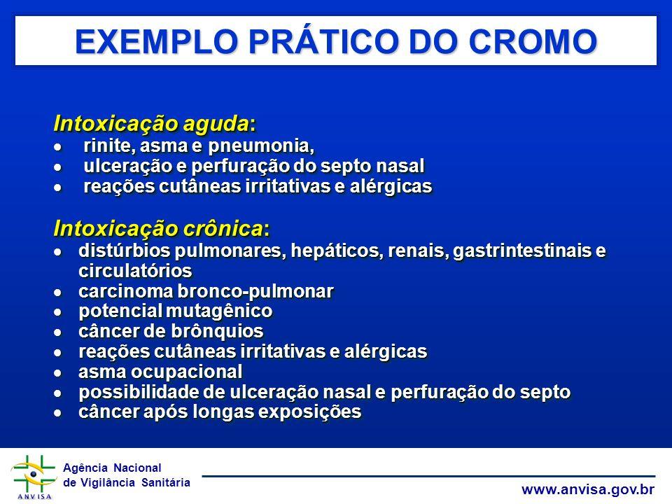 Agência Nacional de Vigilância Sanitária www.anvisa.gov.br EXEMPLO PRÁTICO DO CROMO Intoxicação aguda: rinite, asma e pneumonia, rinite, asma e pneumo