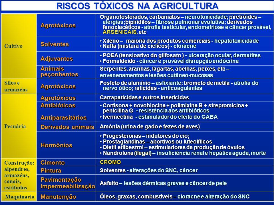 RISCOS TÓXICOS NA AGRICULTURA CultivoAgrotóxicos Organofosforados, carbamatos – neurotoxicidade; piretróides – alergias;bipiridilos – fibrose pulmonar