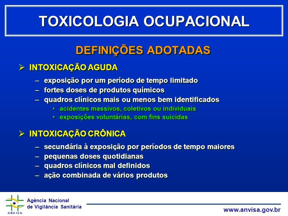 Agência Nacional de Vigilância Sanitária www.anvisa.gov.br TOXICOLOGIA OCUPACIONAL DEFINIÇÕES ADOTADAS INTOXICAÇÃO AGUDA INTOXICAÇÃO AGUDA –exposição