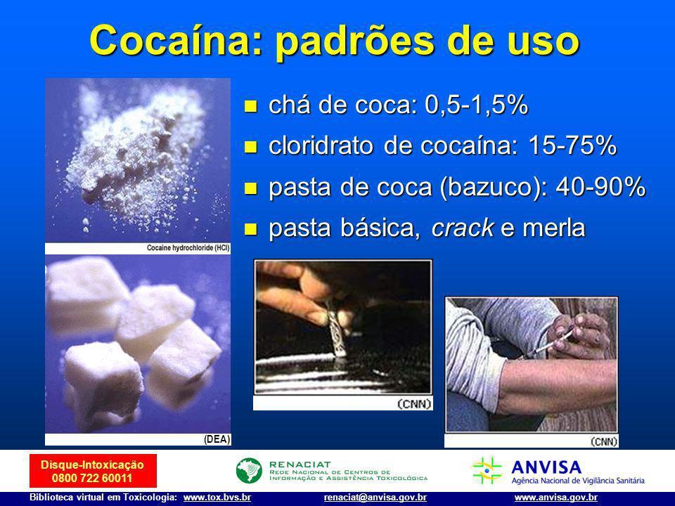 Disque-Intoxicação 0800 722 60011 Biblioteca virtual em Toxicologia: www.tox.bvs.brwww.anvisa.gov.brrenaciat@anvisa.gov.br Cocaína: padrões de uso chá