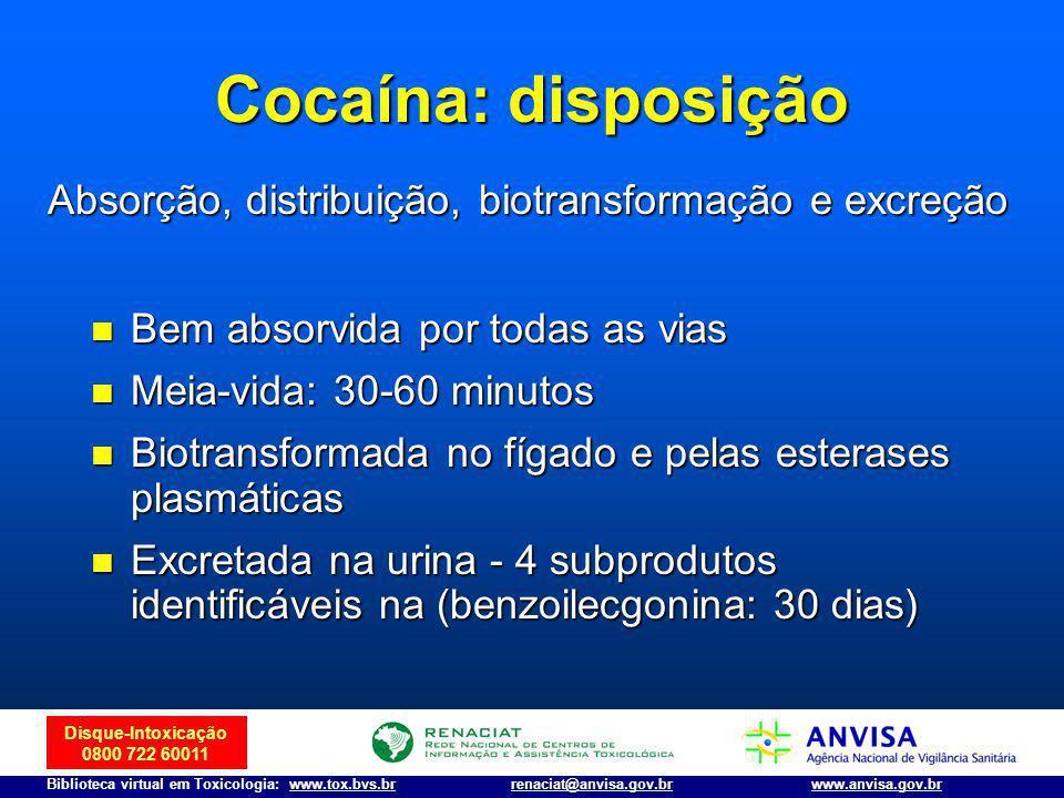 Disque-Intoxicação 0800 722 60011 Biblioteca virtual em Toxicologia: www.tox.bvs.brwww.anvisa.gov.brrenaciat@anvisa.gov.br Cocaína: disposição Bem abs