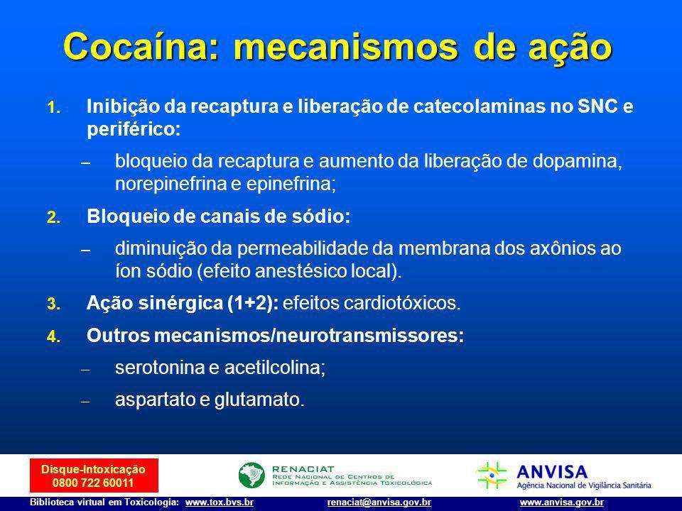 Disque-Intoxicação 0800 722 60011 Biblioteca virtual em Toxicologia: www.tox.bvs.brwww.anvisa.gov.brrenaciat@anvisa.gov.br Cocaína: mecanismos de ação