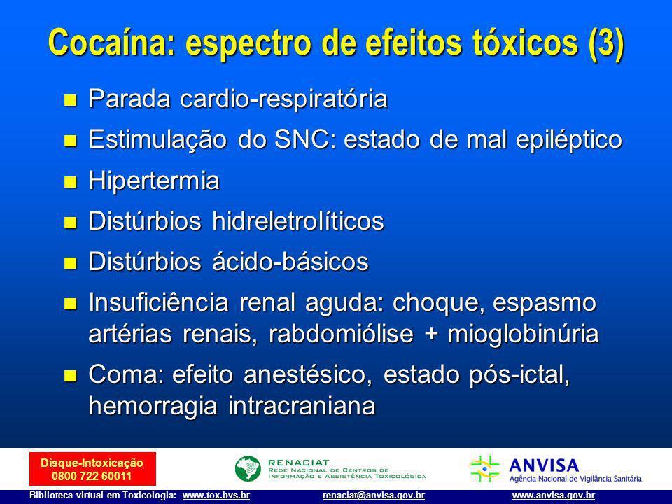 Disque-Intoxicação 0800 722 60011 Biblioteca virtual em Toxicologia: www.tox.bvs.brwww.anvisa.gov.brrenaciat@anvisa.gov.br Parada cardio-respiratória