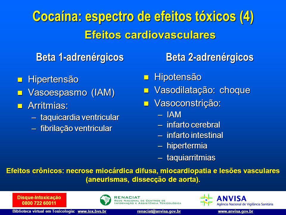 Disque-Intoxicação 0800 722 60011 Biblioteca virtual em Toxicologia: www.tox.bvs.brwww.anvisa.gov.brrenaciat@anvisa.gov.br Cocaína: espectro de efeito