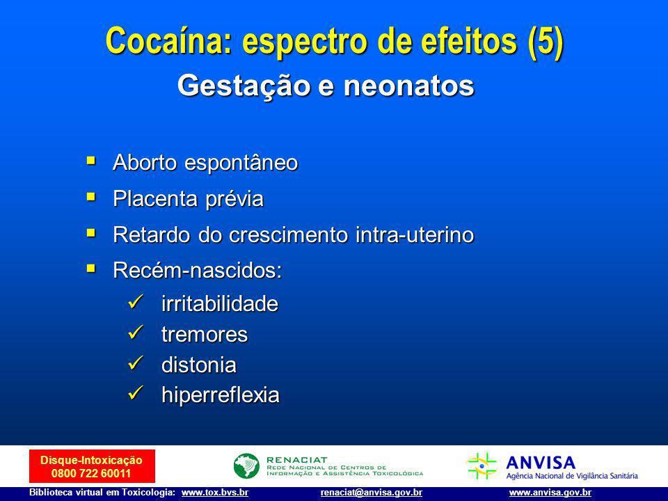 Disque-Intoxicação 0800 722 60011 Biblioteca virtual em Toxicologia: www.tox.bvs.brwww.anvisa.gov.brrenaciat@anvisa.gov.br Aborto espontâneo Aborto es