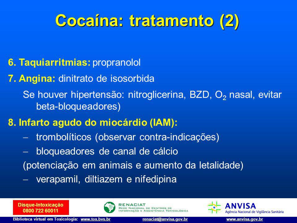 Disque-Intoxicação 0800 722 60011 Biblioteca virtual em Toxicologia: www.tox.bvs.brwww.anvisa.gov.brrenaciat@anvisa.gov.br 6. Taquiarritmias: proprano