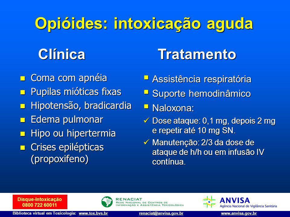 Disque-Intoxicação 0800 722 60011 Biblioteca virtual em Toxicologia: www.tox.bvs.brwww.anvisa.gov.brrenaciat@anvisa.gov.br Opióides: intoxicação aguda