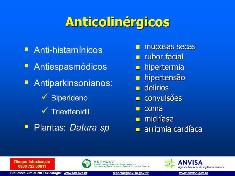 Disque-Intoxicação 0800 722 60011 Biblioteca virtual em Toxicologia: www.tox.bvs.brwww.anvisa.gov.brrenaciat@anvisa.gov.br Anticolinérgicos mucosas se