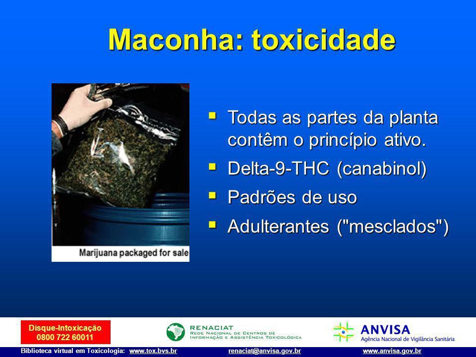 Disque-Intoxicação 0800 722 60011 Biblioteca virtual em Toxicologia: www.tox.bvs.brwww.anvisa.gov.brrenaciat@anvisa.gov.br Maconha: toxicidade Todas a