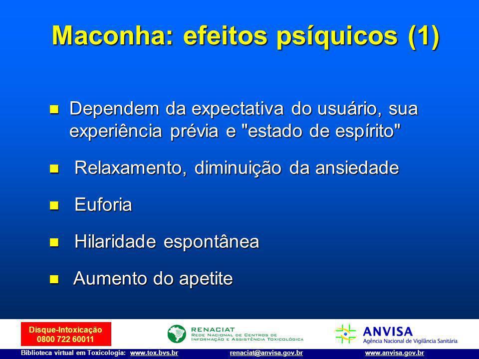 Disque-Intoxicação 0800 722 60011 Biblioteca virtual em Toxicologia: www.tox.bvs.brwww.anvisa.gov.brrenaciat@anvisa.gov.br n Dependem da expectativa d