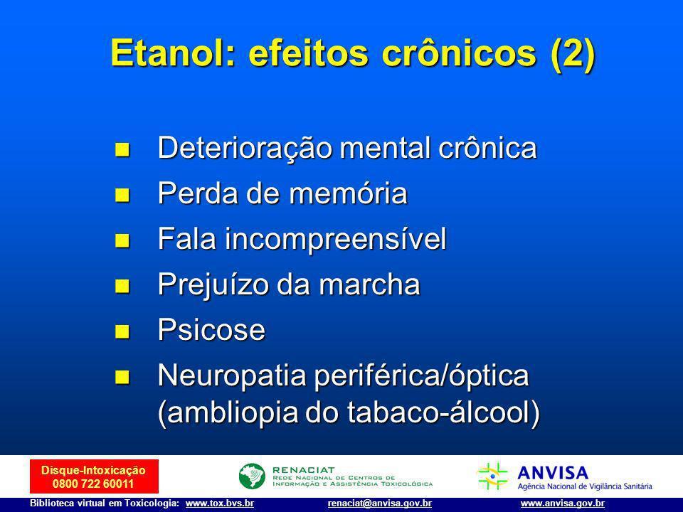 Disque-Intoxicação 0800 722 60011 Biblioteca virtual em Toxicologia: www.tox.bvs.brwww.anvisa.gov.brrenaciat@anvisa.gov.br n Deterioração mental crôni