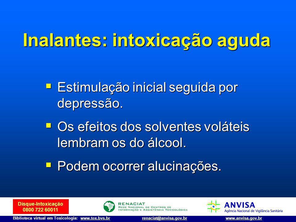 Disque-Intoxicação 0800 722 60011 Biblioteca virtual em Toxicologia: www.tox.bvs.brwww.anvisa.gov.brrenaciat@anvisa.gov.br Estimulação inicial seguida