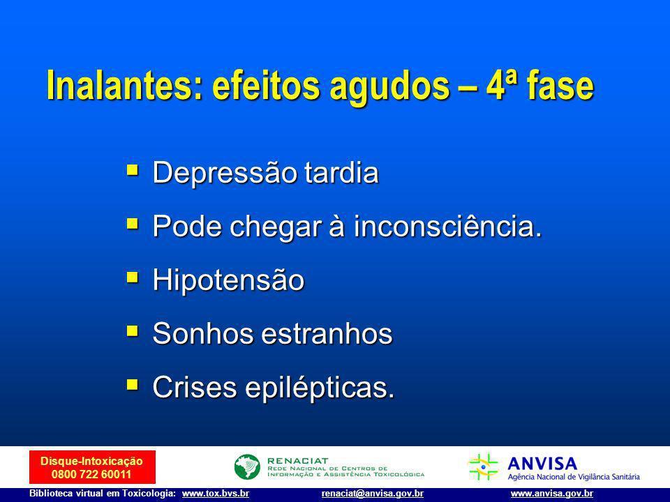 Disque-Intoxicação 0800 722 60011 Biblioteca virtual em Toxicologia: www.tox.bvs.brwww.anvisa.gov.brrenaciat@anvisa.gov.br Inalantes: efeitos agudos –