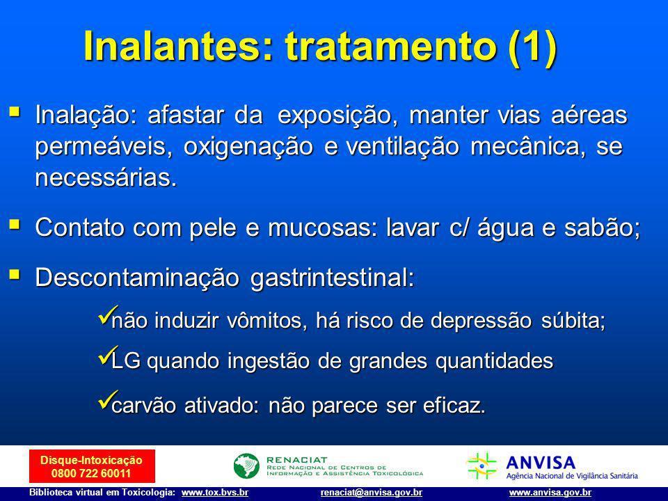 Disque-Intoxicação 0800 722 60011 Biblioteca virtual em Toxicologia: www.tox.bvs.brwww.anvisa.gov.brrenaciat@anvisa.gov.br Inalação: afastar da exposi