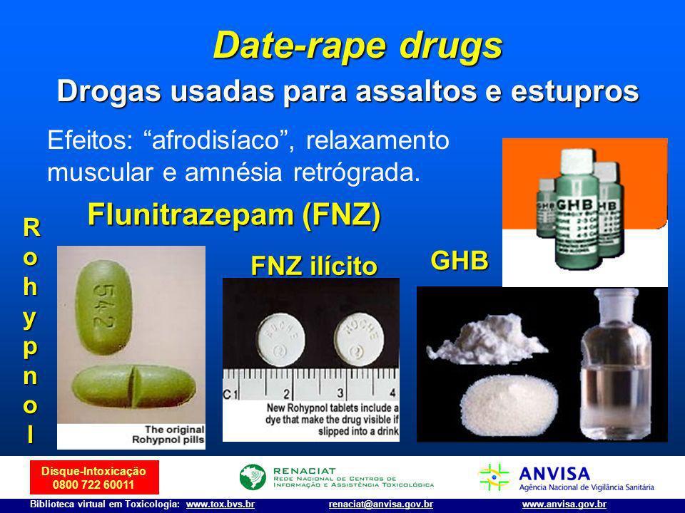 Disque-Intoxicação 0800 722 60011 Biblioteca virtual em Toxicologia: www.tox.bvs.brwww.anvisa.gov.brrenaciat@anvisa.gov.br GHB Flunitrazepam (FNZ) Roh