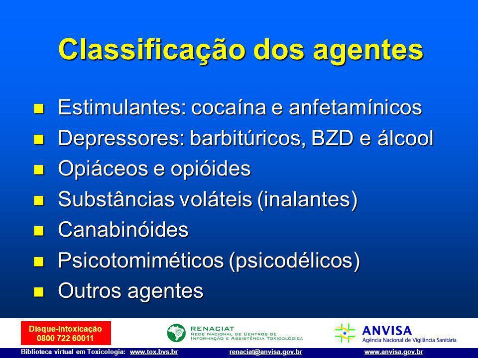 Disque-Intoxicação 0800 722 60011 Biblioteca virtual em Toxicologia: www.tox.bvs.brwww.anvisa.gov.brrenaciat@anvisa.gov.br Classificação dos agentes E