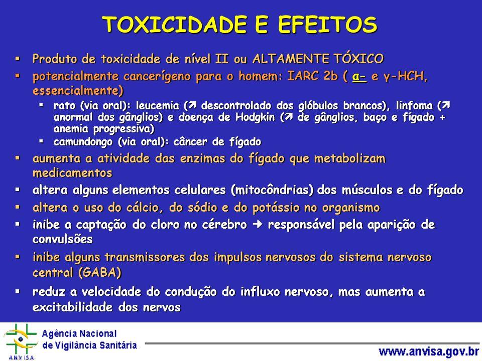 TOXICIDADE E EFEITOS Produto de toxicidade de nível II ou ALTAMENTE TÓXICO Produto de toxicidade de nível II ou ALTAMENTE TÓXICO potencialmente cancer