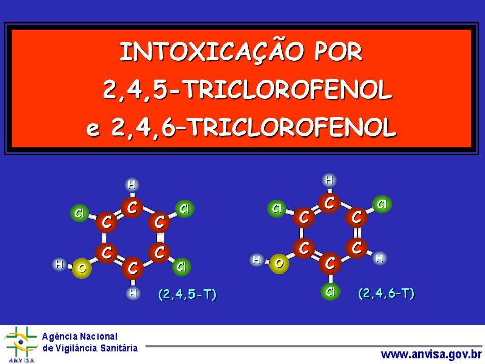 INTOXICAÇÃO POR 2,4,5-TRICLOROFENOL e 2,4,6–TRICLOROFENOL O H Cl H Cl C C C C C C Cl H O H Cl H Cl C C C C C C Cl H (2,4,5-T) (2,4,6–T)