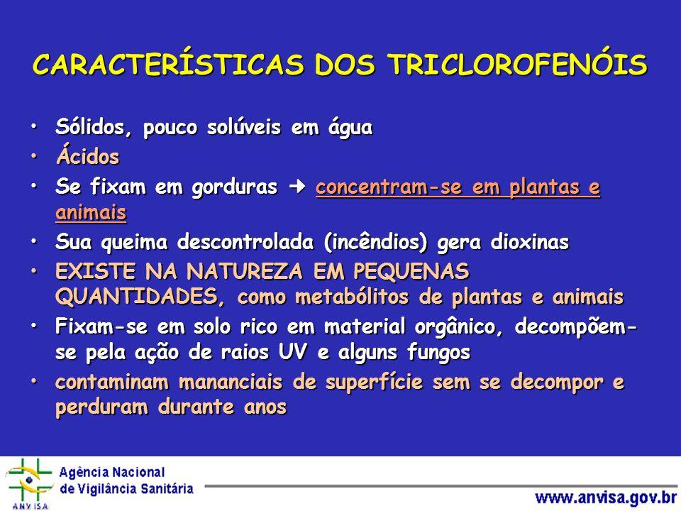 CARACTERÍSTICAS DOS TRICLOROFENÓIS Sólidos, pouco solúveis em águaSólidos, pouco solúveis em água ÁcidosÁcidos Se fixam em gorduras concentram-se em p