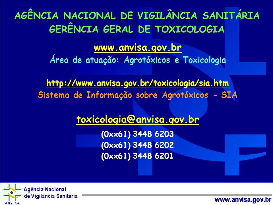 Qual é a isca? Água limpa AGÊNCIA NACIONAL DE VIGILÂNCIA SANITÁRIA GERÊNCIA GERAL DE TOXICOLOGIA www.anvisa.gov.br Área de atuação: Agrotóxicos e Toxi