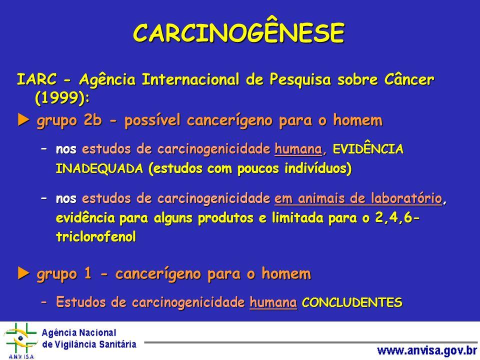 CARCINOGÊNESE IARC - Agência Internacional de Pesquisa sobre Câncer (1999): grupo 2b - possível cancerígeno para o homem grupo 2b - possível canceríge