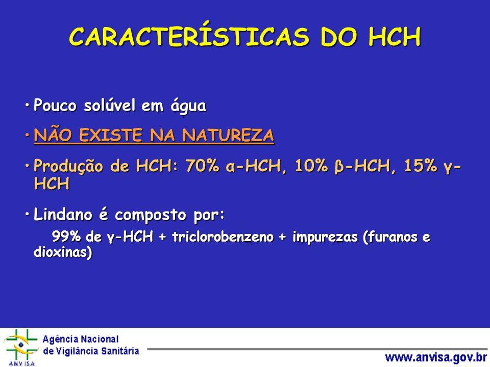 CARACTERÍSTICAS DO HCH Pouco solúvel em águaPouco solúvel em água NÃO EXISTE NA NATUREZANÃO EXISTE NA NATUREZA Produção de HCH: 70% α-HCH, 10% β-HCH,