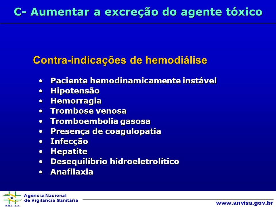 C- Aumentar a excreção do agente tóxico Contra-indicações de hemodiálise Paciente hemodinamicamente instável Paciente hemodinamicamente instável Hipotensão Hipotensão Hemorragia Hemorragia Trombose venosa Trombose venosa Tromboembolia gasosa Tromboembolia gasosa Presença de coagulopatia Presença de coagulopatia Infecção Infecção Hepatite Hepatite Desequilíbrio hidroeletrolítico Desequilíbrio hidroeletrolítico Anafilaxia Anafilaxia