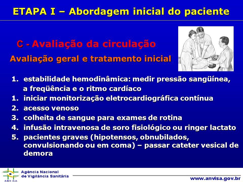 C - C - Avaliação da circulação Avaliação geral e tratamento inicial Avaliação geral e tratamento inicial 1.estabilidade hemodinâmica: medir pressão sangüínea, a freqüência e o ritmo cardíaco a freqüência e o ritmo cardíaco 1.iniciar monitorização eletrocardiográfica contínua 2.acesso venoso 3.colheita de sangue para exames de rotina 4.infusão intravenosa de soro fisiológico ou ringer lactato 5.pacientes graves (hipotensos, obnubilados, convulsionando ou em coma) – passar cateter vesical de demora ETAPA I – Abordagem inicial do paciente