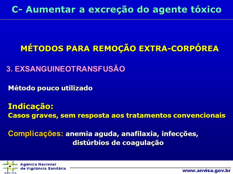 C- Aumentar a excreção do agente tóxico MÉTODOS PARA REMOÇÃO EXTRA-CORPÓREA 3.