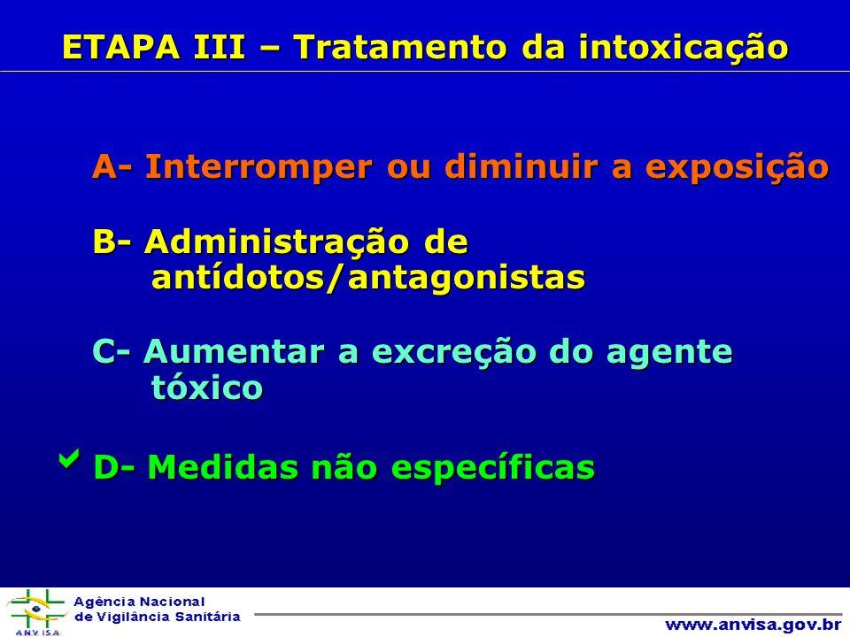 A- Interromper ou diminuir a exposição A- Interromper ou diminuir a exposição B- Administração de antídotos/antagonistas B- Administração de antídotos/antagonistas C- Aumentar a excreção do agente tóxico C- Aumentar a excreção do agente tóxico D- Medidas não específicas D- Medidas não específicas ETAPA III – Tratamento da intoxicação