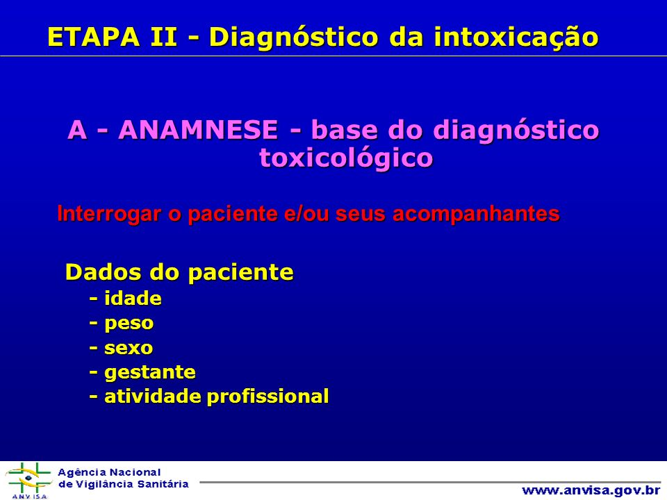 A - ANAMNESE - base do diagnóstico toxicológico Interrogar o paciente e/ou seus acompanhantes Dados do paciente Dados do paciente - idade - idade - peso - peso - sexo - sexo - gestante - gestante - atividade profissional - atividade profissional ETAPA II - Diagnóstico da intoxicação