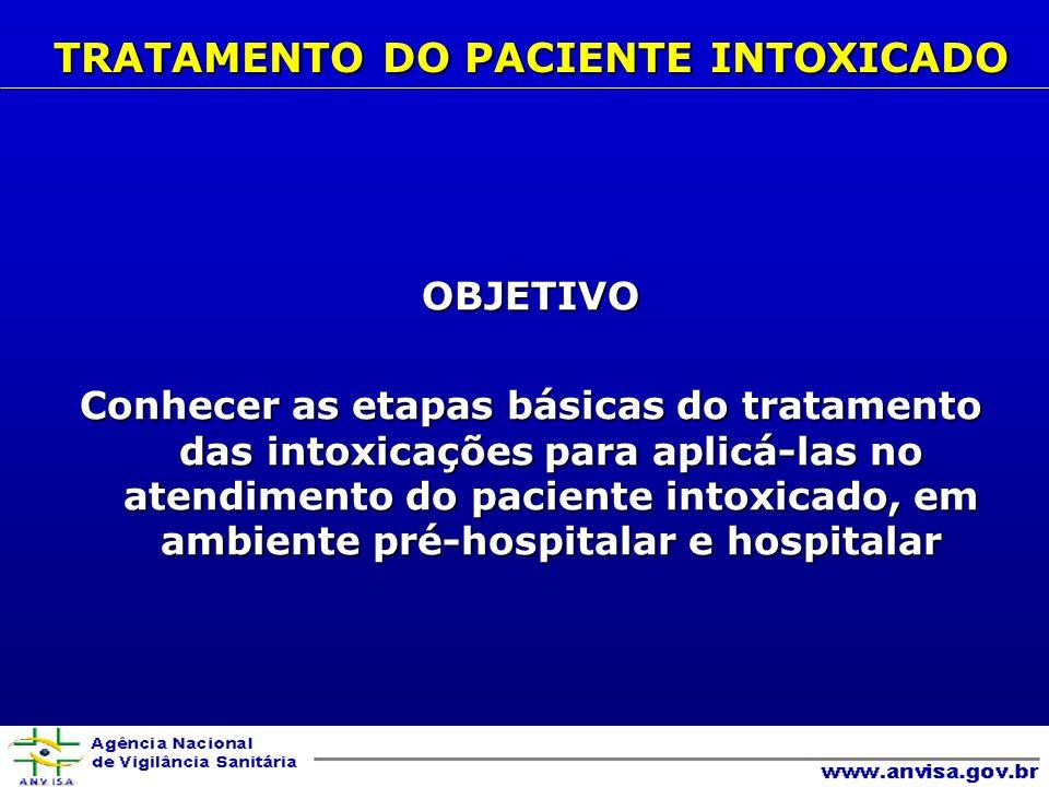 OBJETIVO Conhecer as etapas básicas do tratamento das intoxicações para aplicá-las no atendimento do paciente intoxicado, em ambiente pré-hospitalar e hospitalar TRATAMENTO DO PACIENTE INTOXICADO