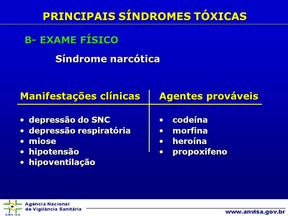 Manifestações clínicas depressão do SNCdepressão do SNC depressão respiratóriadepressão respiratória miosemiose hipotensãohipotensão hipoventilaçãohipoventilação Agentes prováveis codeína codeína morfina morfina heroína heroína propoxifeno propoxifeno PRINCIPAIS SÍNDROMES TÓXICAS B- EXAME FÍSICO Síndrome narcótica