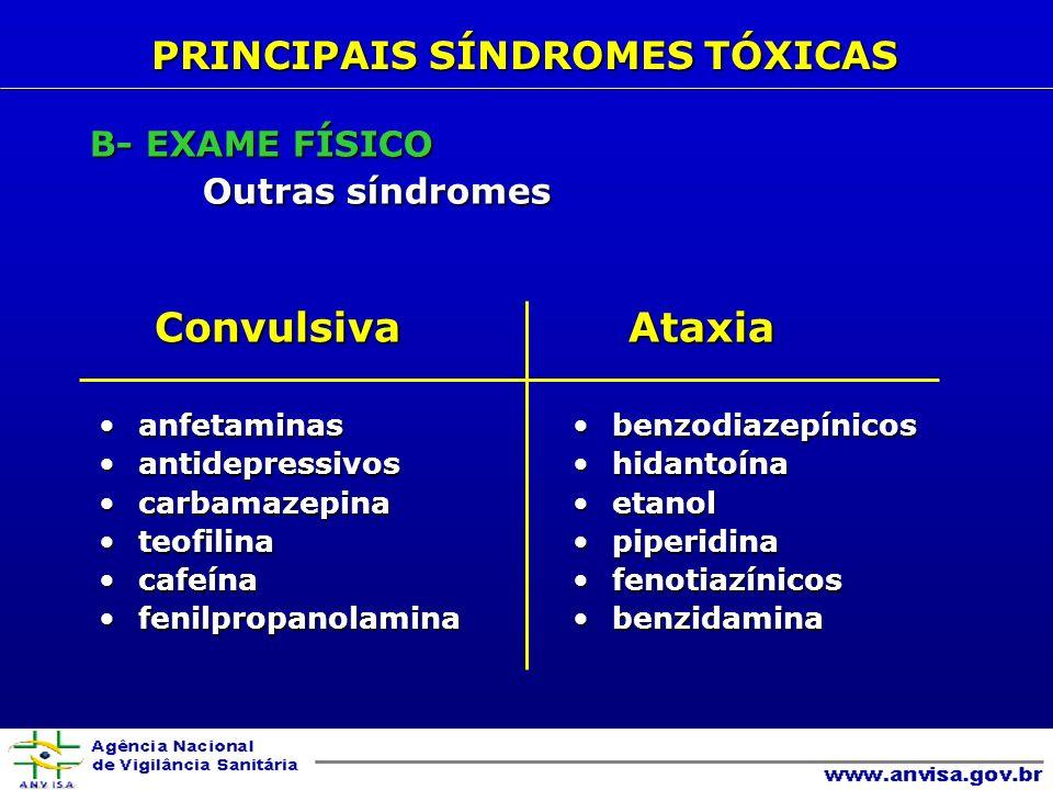 Convulsiva Convulsiva anfetaminasanfetaminas antidepressivosantidepressivos carbamazepinacarbamazepina teofilinateofilina cafeínacafeína fenilpropanolaminafenilpropanolamina Ataxia Ataxia benzodiazepínicosbenzodiazepínicos hidantoínahidantoína etanoletanol piperidinapiperidina fenotiazínicosfenotiazínicos benzidaminabenzidamina PRINCIPAIS SÍNDROMES TÓXICAS B- EXAME FÍSICO Outras síndromes
