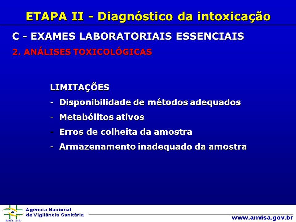 LIMITAÇÕES -Disponibilidade de métodos adequados -Metabólitos ativos -Erros de colheita da amostra -Armazenamento inadequado da amostra ETAPA II - Diagnóstico da intoxicação C - EXAMES LABORATORIAIS ESSENCIAIS 2.