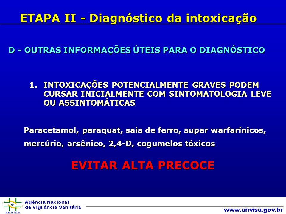 D - OUTRAS INFORMAÇÕES ÚTEIS PARA O DIAGNÓSTICO 1.INTOXICAÇÕES POTENCIALMENTE GRAVES PODEM CURSAR INICIALMENTE COM SINTOMATOLOGIA LEVE OU ASSINTOMÁTICAS Paracetamol, paraquat, sais de ferro, super warfarínicos, Paracetamol, paraquat, sais de ferro, super warfarínicos, mercúrio, arsênico, 2,4-D, cogumelos tóxicos mercúrio, arsênico, 2,4-D, cogumelos tóxicos EVITAR ALTA PRECOCE ETAPA II - Diagnóstico da intoxicação