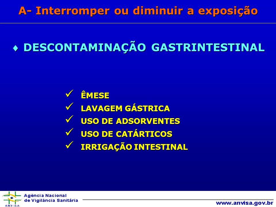 ÊMESE ÊMESE LAVAGEM GÁSTRICA LAVAGEM GÁSTRICA USO DE ADSORVENTES USO DE ADSORVENTES USO DE CATÁRTICOS USO DE CATÁRTICOS IRRIGAÇÃO INTESTINAL IRRIGAÇÃO INTESTINAL A- Interromper ou diminuir a exposição DESCONTAMINAÇÃO GASTRINTESTINAL DESCONTAMINAÇÃO GASTRINTESTINAL