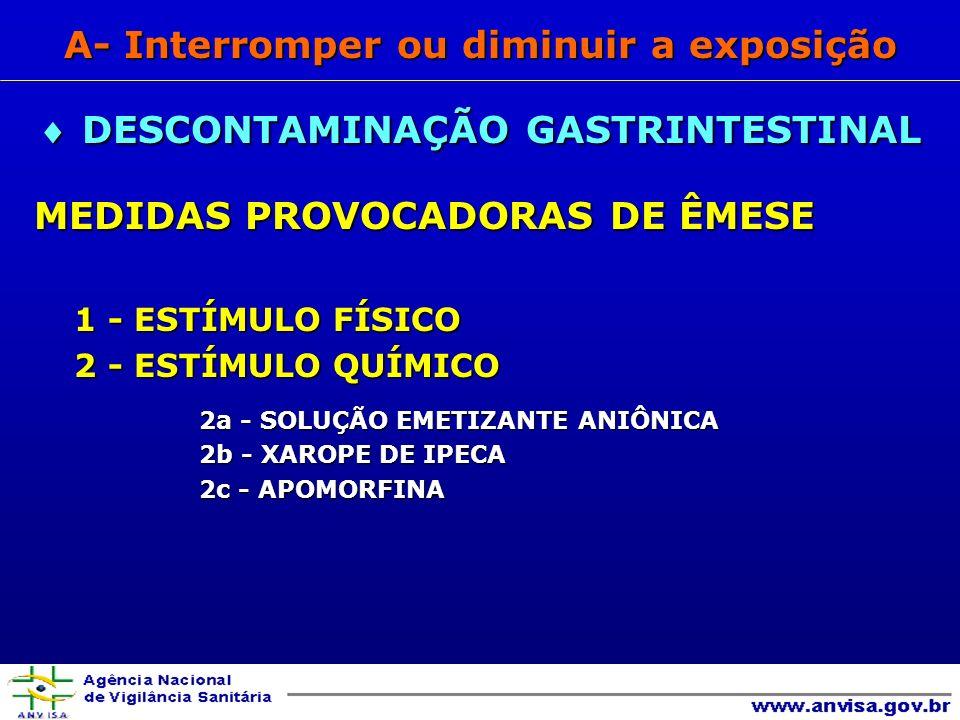 MEDIDAS PROVOCADORAS DE ÊMESE MEDIDAS PROVOCADORAS DE ÊMESE 1 - ESTÍMULO FÍSICO 1 - ESTÍMULO FÍSICO 2 - ESTÍMULO QUÍMICO 2 - ESTÍMULO QUÍMICO 2a - SOLUÇÃO EMETIZANTE ANIÔNICA 2b - XAROPE DE IPECA 2c - APOMORFINA DESCONTAMINAÇÃO GASTRINTESTINAL DESCONTAMINAÇÃO GASTRINTESTINAL A- Interromper ou diminuir a exposição
