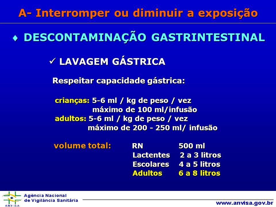 Respeitar capacidade gástrica: Respeitar capacidade gástrica: crianças: 5-6 ml / kg de peso / vez crianças: 5-6 ml / kg de peso / vez máximo de 100 ml/infusão máximo de 100 ml/infusão adultos: 5-6 ml / kg de peso / vez adultos: 5-6 ml / kg de peso / vez máximo de 200 - 250 ml/ infusão máximo de 200 - 250 ml/ infusão volume total: RN 500 ml volume total: RN 500 ml Lactentes 2 a 3 litros Lactentes 2 a 3 litros Escolares 4 a 5 litros Escolares 4 a 5 litros Adultos 6 a 8 litros Adultos 6 a 8 litros DESCONTAMINAÇÃO GASTRINTESTINAL DESCONTAMINAÇÃO GASTRINTESTINAL A- Interromper ou diminuir a exposição