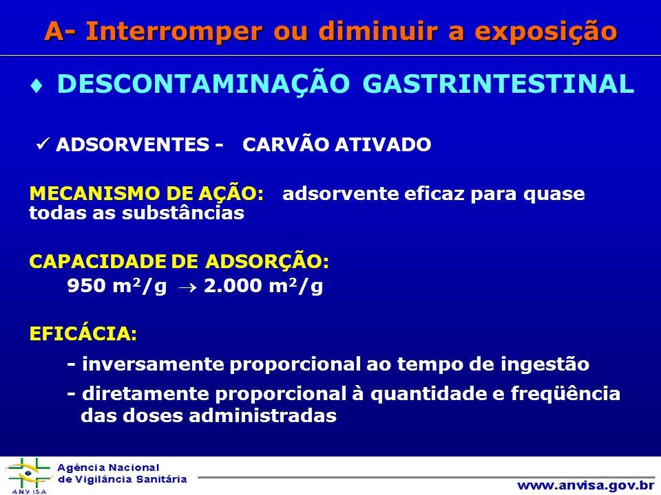 ADSORVENTES - CARVÃO ATIVADO MECANISMO DE AÇÃO: adsorvente eficaz para quase todas as substâncias CAPACIDADE DE ADSORÇÃO: 950 m 2 /g 2.000 m 2 /g EFICÁCIA: - inversamente proporcional ao tempo de ingestão - diretamente proporcional à quantidade e freqüência das doses administradas DESCONTAMINAÇÃO GASTRINTESTINAL A- Interromper ou diminuir a exposição